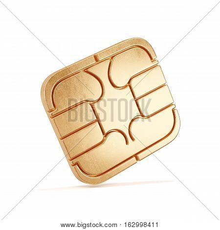Sim Card Chip Isolated