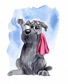 pic of goodbye  - humorous illustration of shaggy dog waving goodbye - JPG