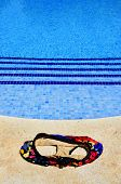 foto of nudism  - a swimsuit in a swimming pool in the summer - JPG