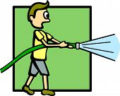 picture of firehose  - person with a water hose - JPG