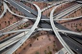 Aerial of freeway stack in Phoenix, Arizona