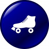 picture of roller-derby  - roller skate button - JPG