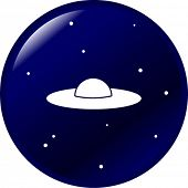 foto of ovni  - ufo in the space button - JPG