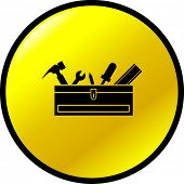 toolbox with tools button