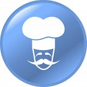 image of chefs hat  - french chef character button - JPG