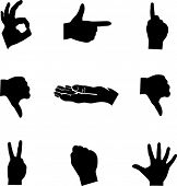 stock photo of count down  - hands mini symbols set - JPG