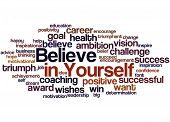 Believe In Yourself, Word Cloud Concept 2 poster