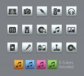 Media & Entertainment  // Satinbox Series -------It includes 5 color versions for each icon in diffe