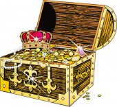 stock photo of treasure chest  - Piracy chest with gold and a crown - JPG