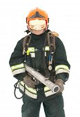 The fireman in regimentals on white background poster