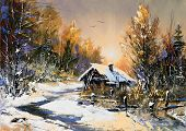 picture of winter landscape  - Rural winter landscape - JPG