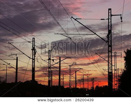 Railway infrastructure against the sunset sky 0920_01
