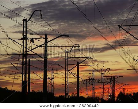 Railway infrastructure against the sunset sky 0920_02