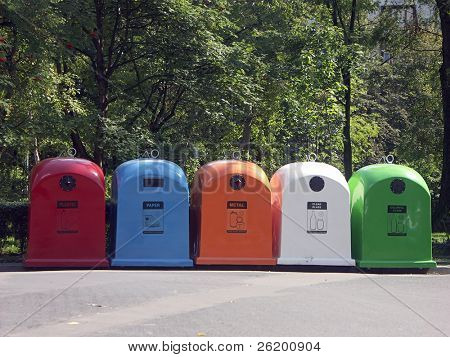 Recycle bins for plastic-paper-metal-glass wastes