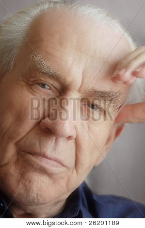 Portrait of casual wistful senior