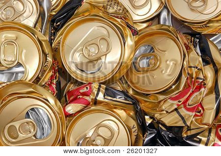 Compressed beer can background