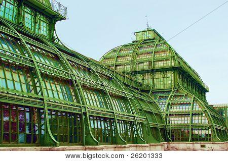 Palmhouse in Schonbrunn garden in Vienna
