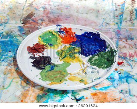 chaotisch painter's Palette mit gemischten Farben