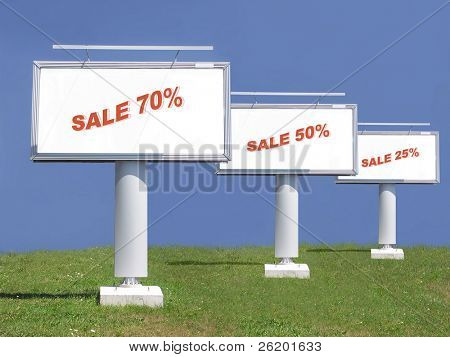 Three large billboards with 75-50-25 percent summer sale note