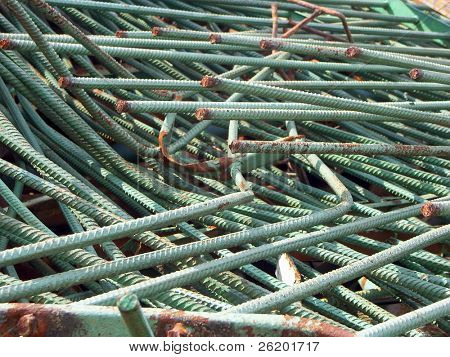 Old reinforcement bars at junkyard