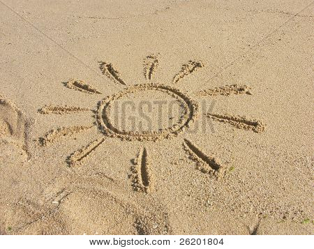 Finger drawn sun on sand