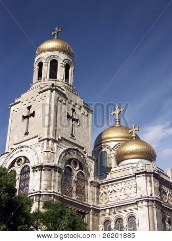 The Assumption Cathedral of Modern Byzantine style in Varna, Bulgaria with golden domes