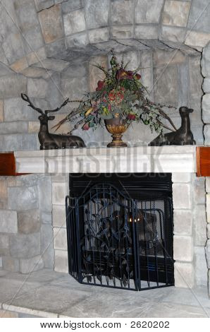 Elegant Fireplace At Resort