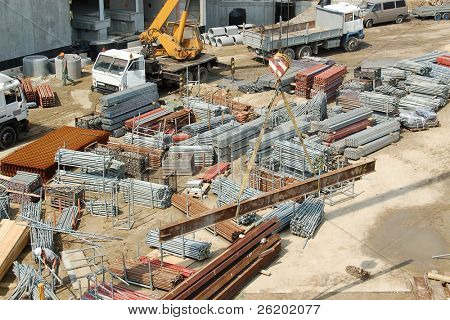 Building elements stored at construction site