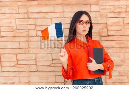 Student Holding Flag And Book