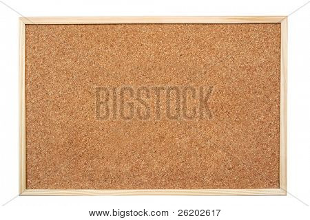 Blank corkboard  isolated on white background