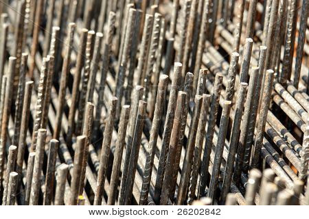 Closeup of steel reinforcement mesh