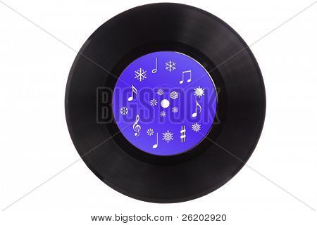 Analog record with christmas carols isolated on white background