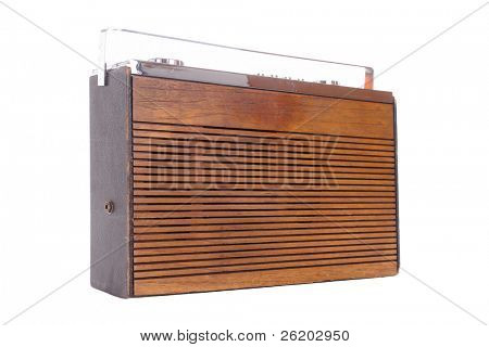 Old wooden radio receiver isolated on white background