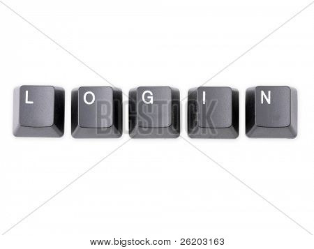 Black keyboard keys forming LOGIN word over white background