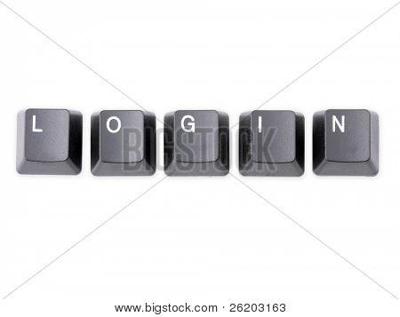 Black keyboard keys forming LOGIN word over white background