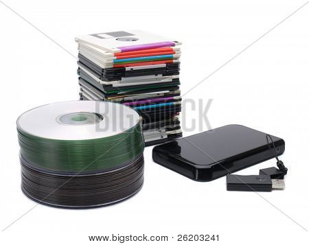 Pile of floppy disks, cd-roms, external hard drive and pen drive over white