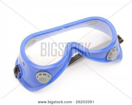 Blue protective goggles shot over white background