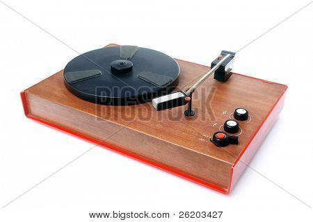 Old mono record player isolated on white background