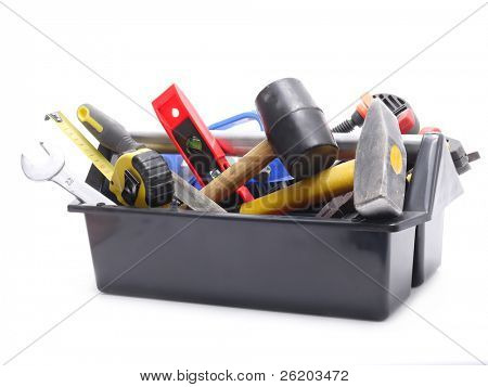 Kunststoff schwarz Toolbox mit Tools over white background