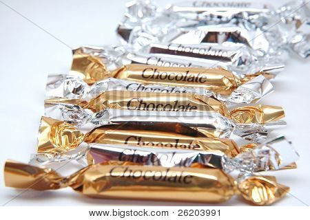 Chocolate Candy Bars in Silver and Gold Wrappers