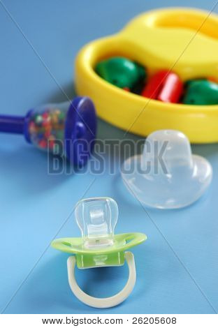 Baby's pacifier and toys