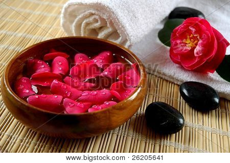 Scented water with flower petals