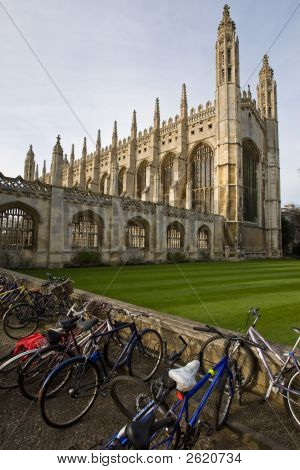 Bicycles Standing Outside Kings College In Cambridge