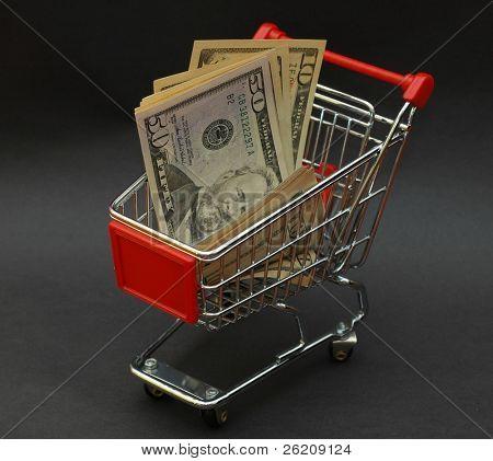 American dollars in shopping cart