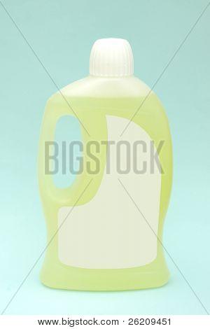 Detergent bottle on light blue background