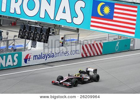 SEPANG, MALAYSIA - APRIL 4 : Hispania Racing F1 driver Bruno Senna of Brazil drives during Petronas Malaysian Grand Prix  at Sepang F1 circuit April 4, 2010 in Sepang, Malaysia