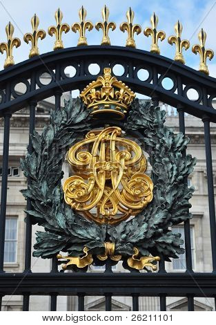Royal Crest at the Buckingham Palace Gate in London