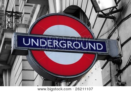 LONDON – SEPTEMBER 25: Close up of a traditional station sign for the London Underground transportation systems on September 25, 2011 in London. The sign was first used in 1908.