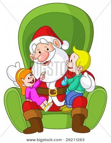 Happy kids sitting on Santa lap