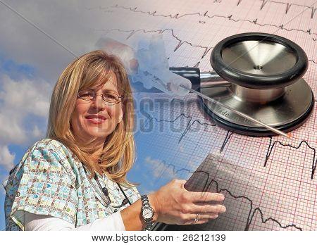 Nurse Reading Her Charts